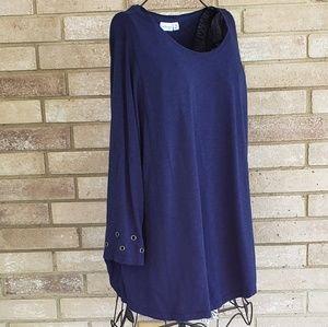 Kim Rogers Curvy 3X Top Navy Blue Tee T Shirt Knit